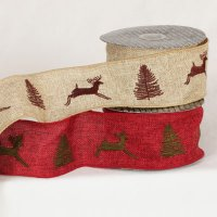 "2 1/2"" Burlap Deer Ribbon - WE (#32912-156"