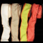 "4"" Burlap Ribbon with Stitched Edge - WE (#312-156-AR)"
