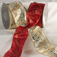 "2 1/2"" Lame Music Notes Ribbon Wire Edge"