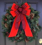 Buffalo Plaid & Velvet Bow -Wired (#1567 )