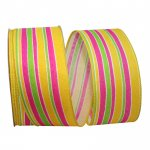 "2 1/2"" Stripe Bright Linen Lines Ribbon - Wire Edge"