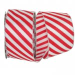 "2 1/2"" Striped Candy Cane Ribbon - Wire Edge"