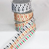 "5/8"" Glitter Chevron Ribbon - Woven Edge"