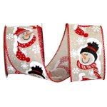 Snowman Friendly Face Ribbon - Wire Edge