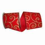 "4"" Scroll Jewel Velvet Ribbon -Wire Edge"