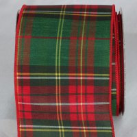 "4"" Red & Green Tartan Chic Ribbon Wire Edge"