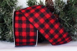 HOMESPUN BUFFALO CHECK WIRED RIBBON (#98731)