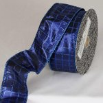 "2"" Blue Lame Sun City Ribbon - Wire Edge"