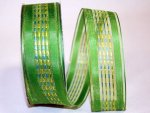 "1 1/2"" Sheer Ticking Stripe Ribbon Wire Edge"