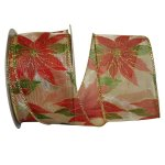 "2 1/2"" Lush Poinsettia Sheer Ribbon - Wire Edge"