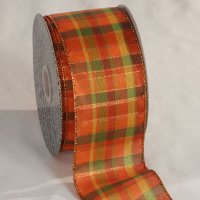 Orange Tartan Tradition Ribbon - Wire Edge