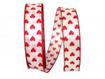 Taffeta Hearts Value Ribbon - Wire Edge