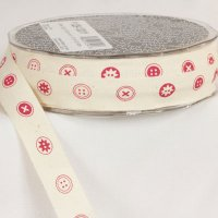 "1/2"" Button Ribbon - Woven Edge"