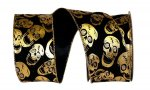 "2 1/2"" Skulls Velvet Metallic Ribbon - WE (#092816W)"