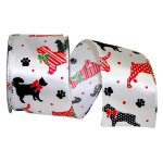 "2 1/2"" Dog Holiday Ribbon - Wire Edge"