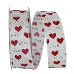 Love Hearts Glitter Ribbon Wire Edge