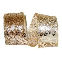 "2 1/2"" Sequin Glitter Web 2 Ribbon - Wire Edge"