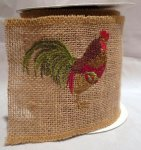 "4"" Rooster Burlap Ribbon - WE (#90539W)"