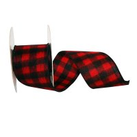 "2 1/2"" Buffalo Flannel Plaid Ribbon Wire Edge"